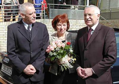 S prezidentem Václavem Klausem a první dámou